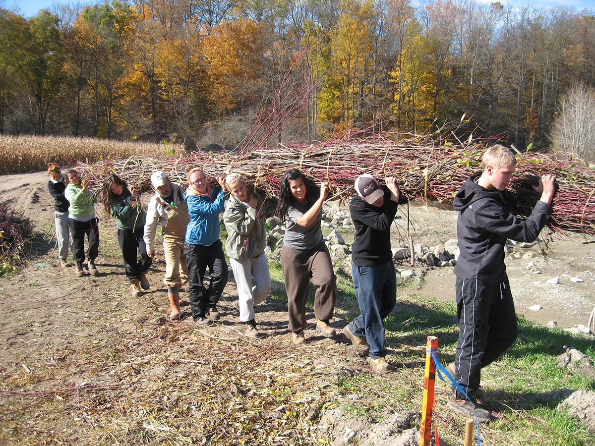 Students participating in streambank restoration